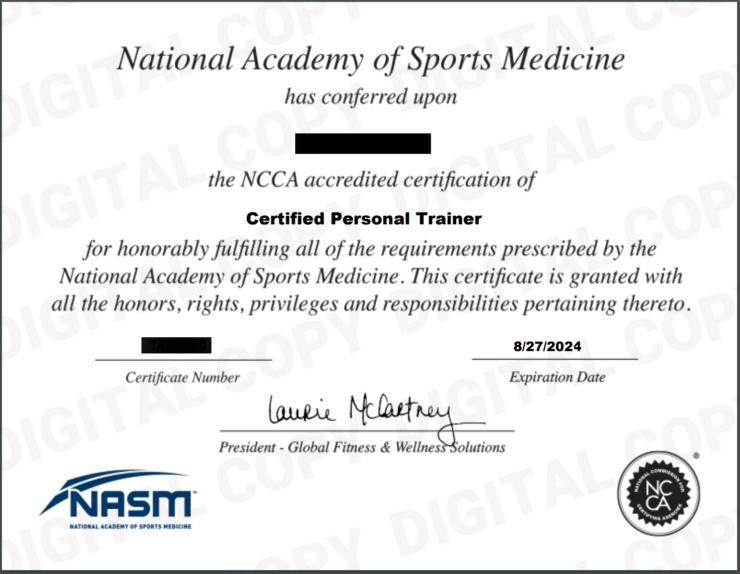 NASM CPT Certificate